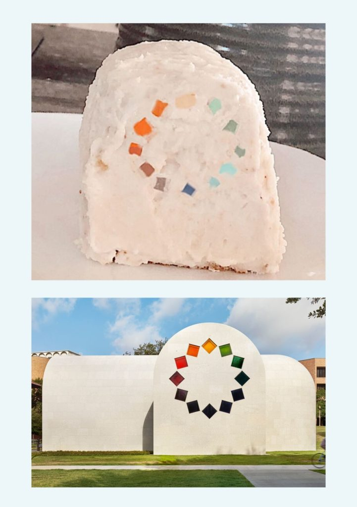 """The top image shows an arch shaped cake frosted and decorated to look like the bottom image which is of the Tumbling Square window of Ellsworth Kelly's """"Austin"""" featuring small squares of different colored glass in a circle"""