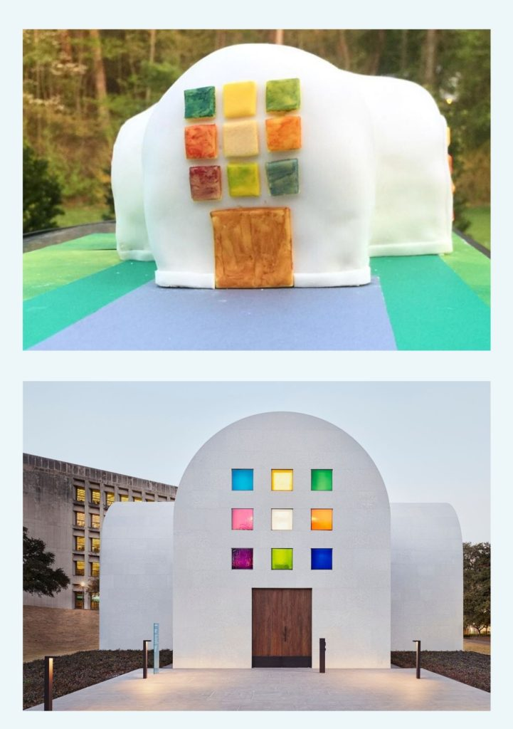 """The top image shows a cake decorated to look like the bottom image of Ellsworth Kelly's """"Austin"""" a white arched building featuring the Color Grid window, a three by three grid shape made of small squares of different color glass"""