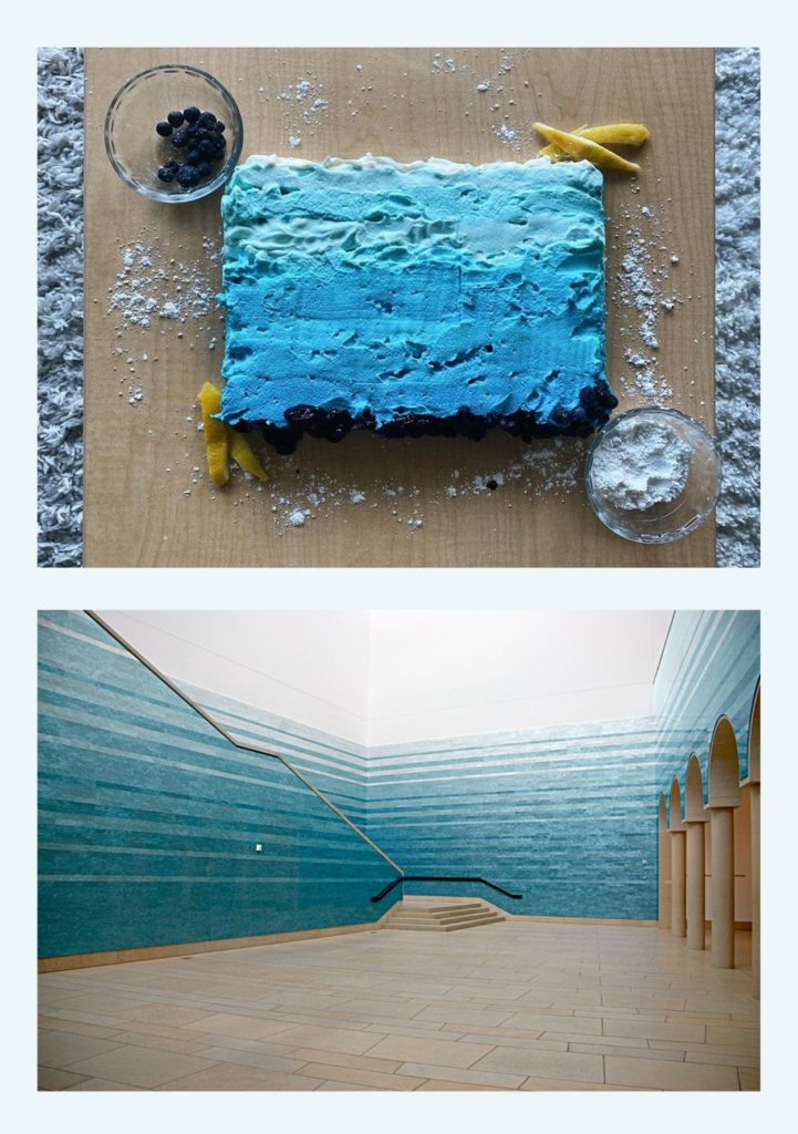"""The top image is of a cake decorated with a marbled blue ombre to match the bottom image which is of Teresita Fernandez' """"Stacked Waters"""" an acrylic panel instillation showing the same dark blue to light blue ombre in long strips stacked on top of one another"""