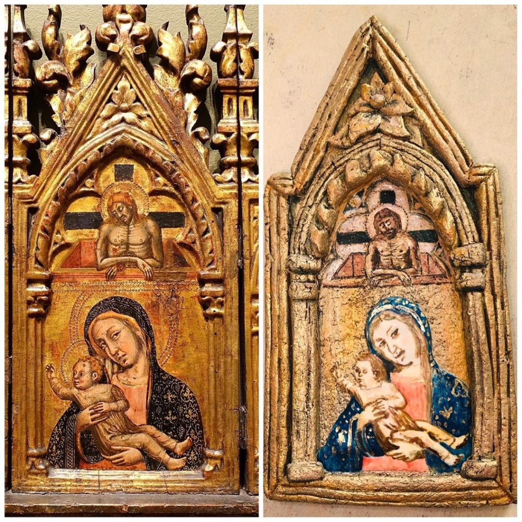 """Side by side images, the left image shows Simone dei Crocifissi's """"Triptych"""" a painting depicting Mary holding the infant Jesus while adult Jesus watches from above framed in a highly ornate arched gold frame, the right image is a cookie shaped and decorated to look just like the aforementioned painting"""