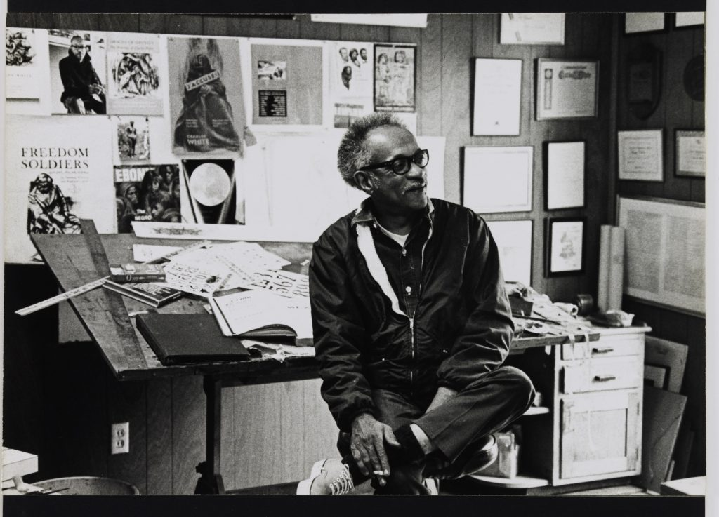 Charles White in his Los Angeles studio, 1970. Photo by Robert A. Nakamura. Image courtesy of the photographer and the Hammer Museum, Los Angeles.