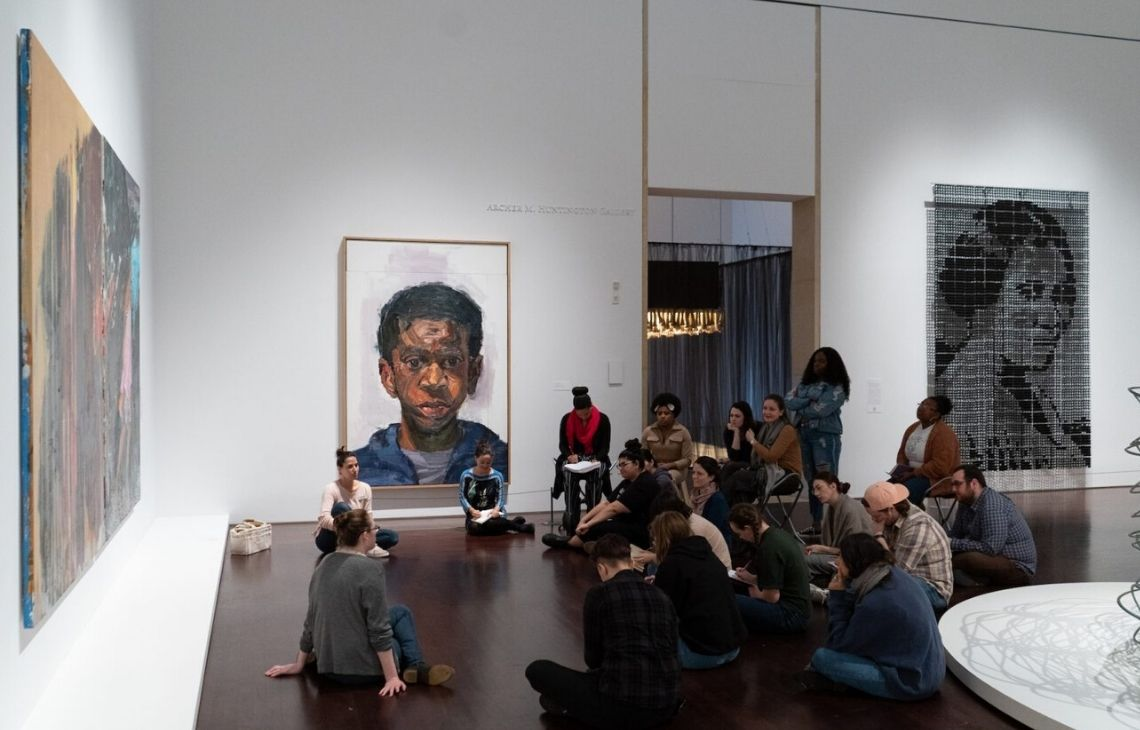 Photo of an Education group in the Blanton's Modern/Contemporary gallery