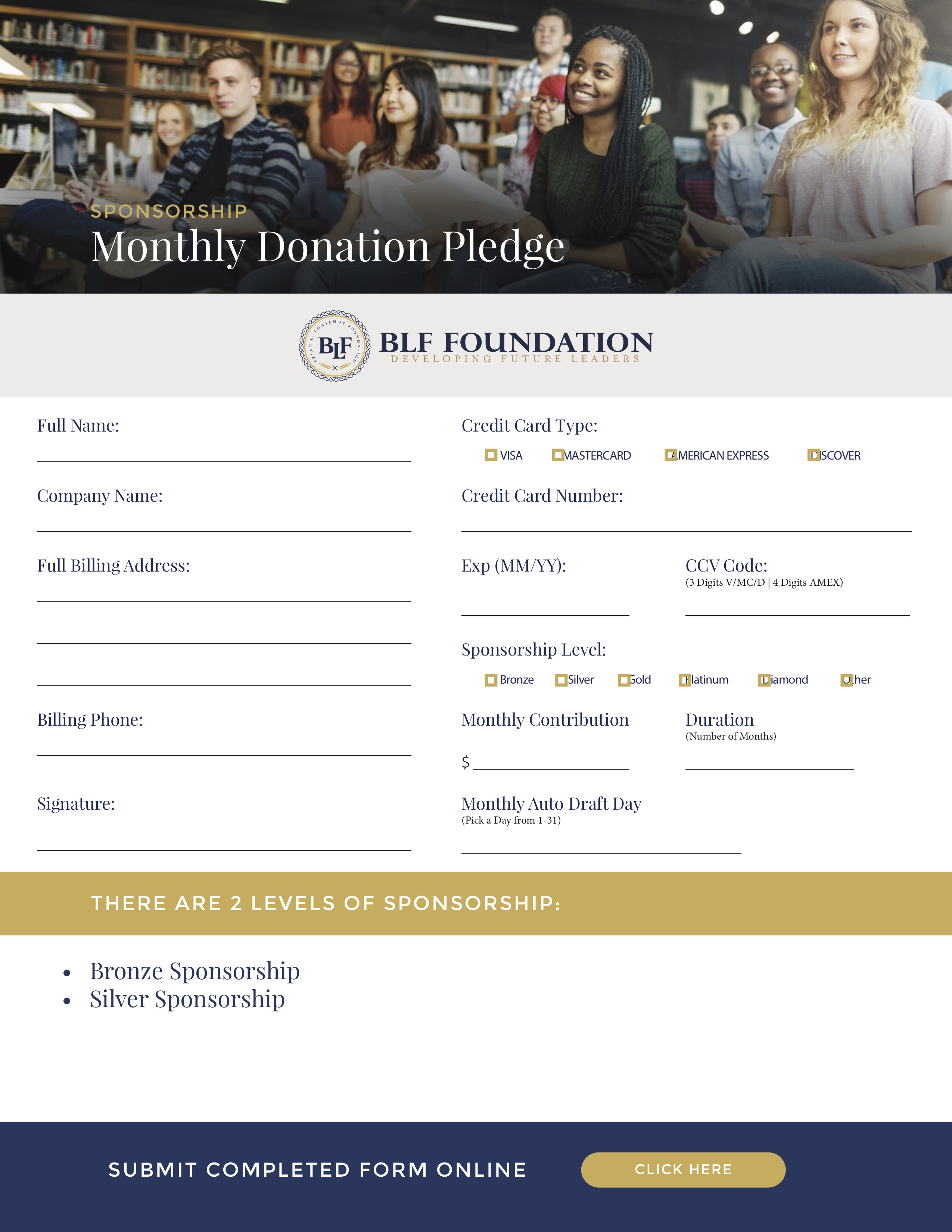 donate monthly to become a sponsor for the blf foundation
