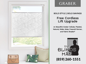 Stylish Savings : Free Cordless Lift Upgrade from Graber at the Blinds Man in Lexington Kentucky