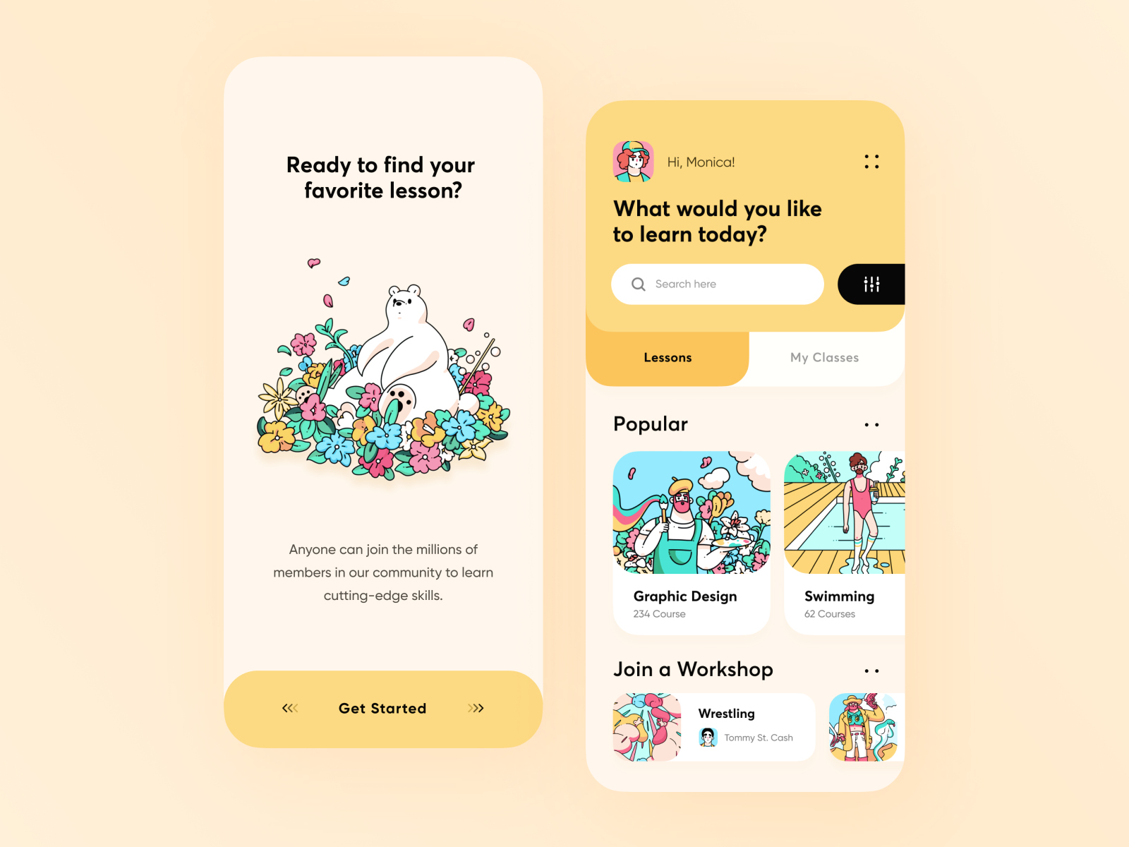 Yellow education app design with flowers and animals