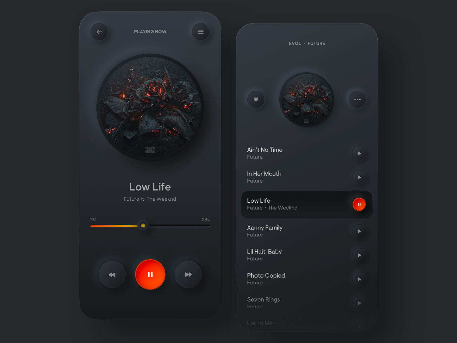 Dark mode app design