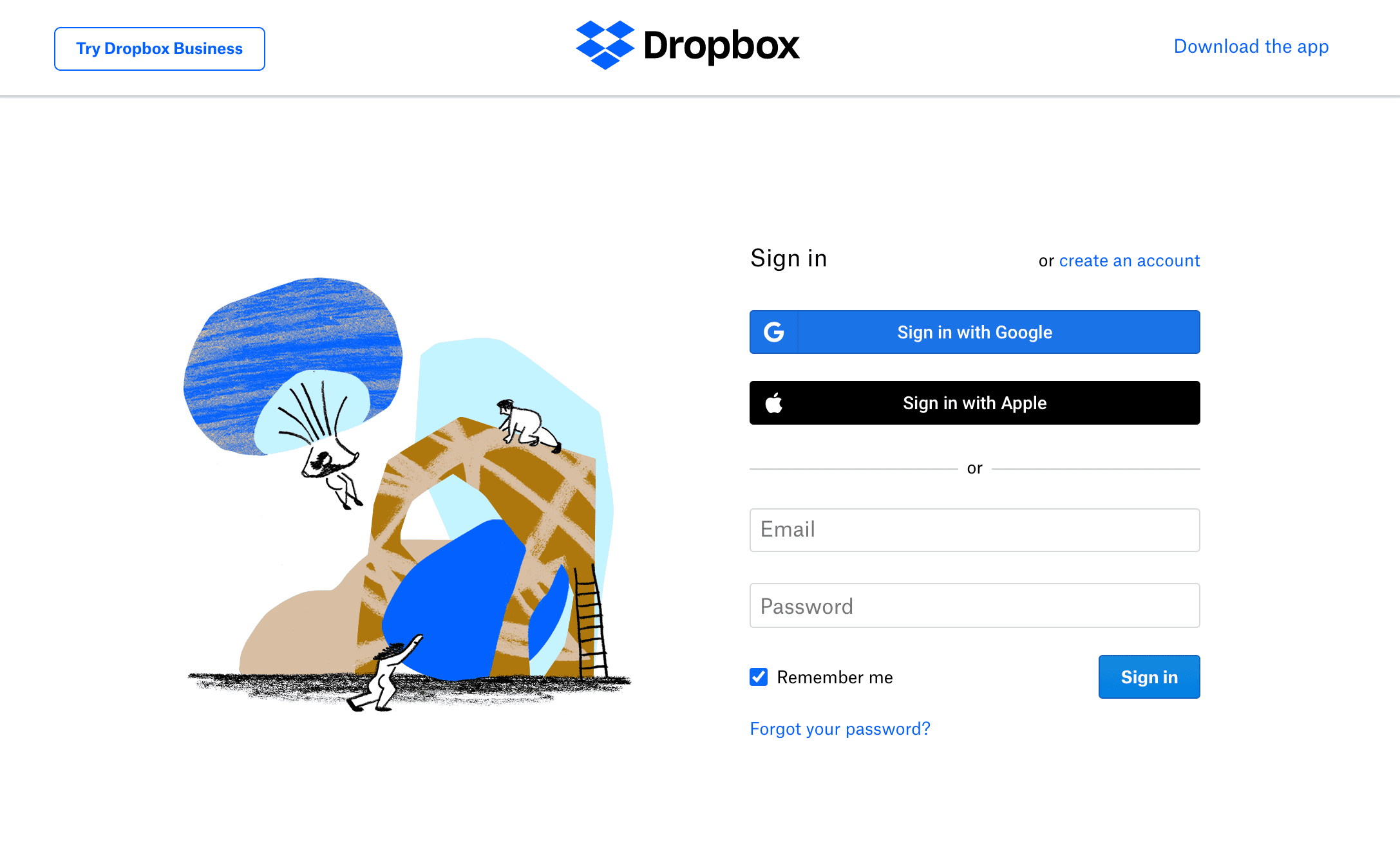 Perfect Dropbox Signup Page