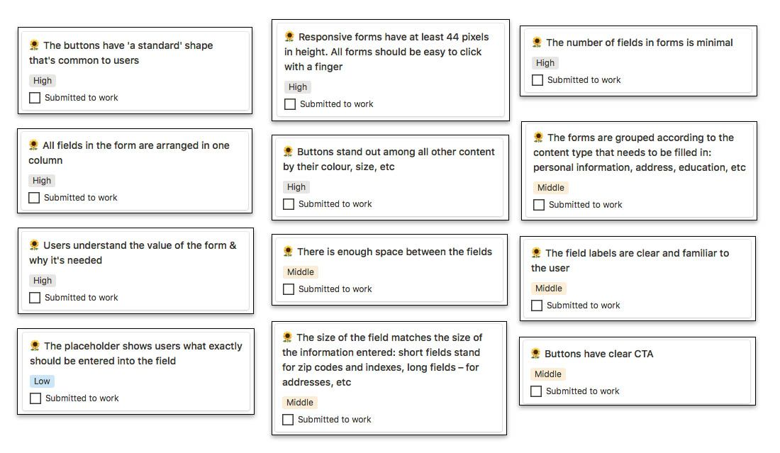 Fields and Forms UX Checklist