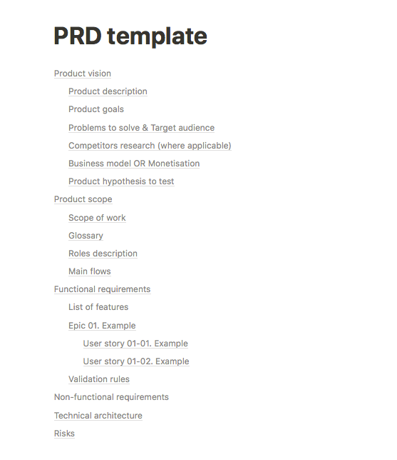 PRD template example