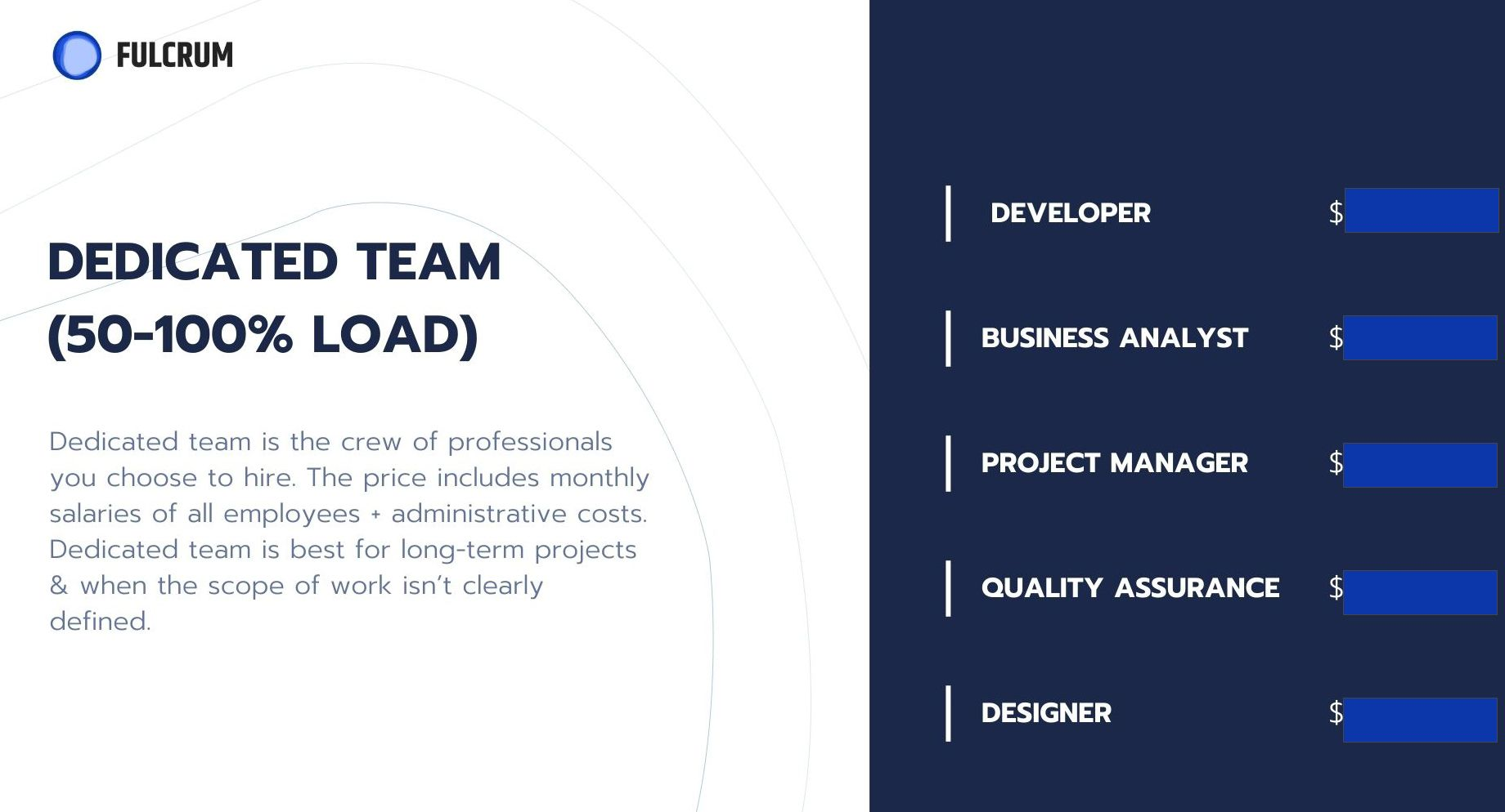 Example of a software development team structure for BUFF project