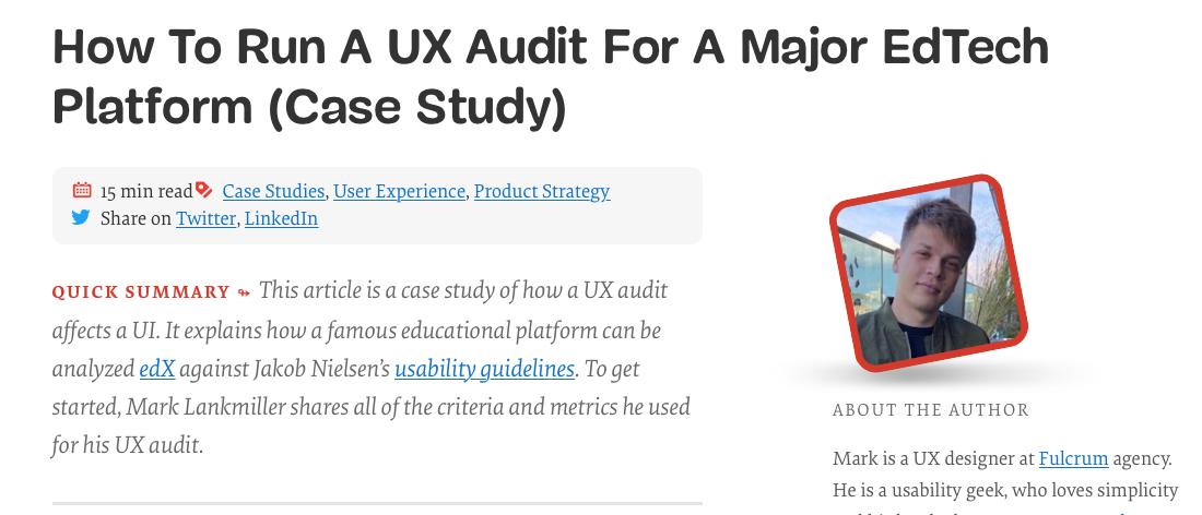 How To Run A UX Audit For A Major EdTech Platform (Case Study).