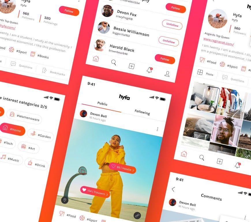 Hyfa social media app example.