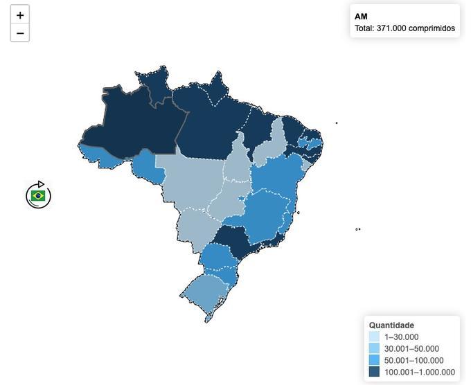 MAPA CLOROQUINA BRASIL