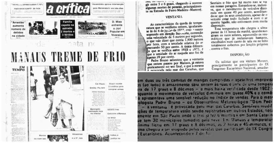 Jornal A Crítica de 1975 - Manaus treme de frio