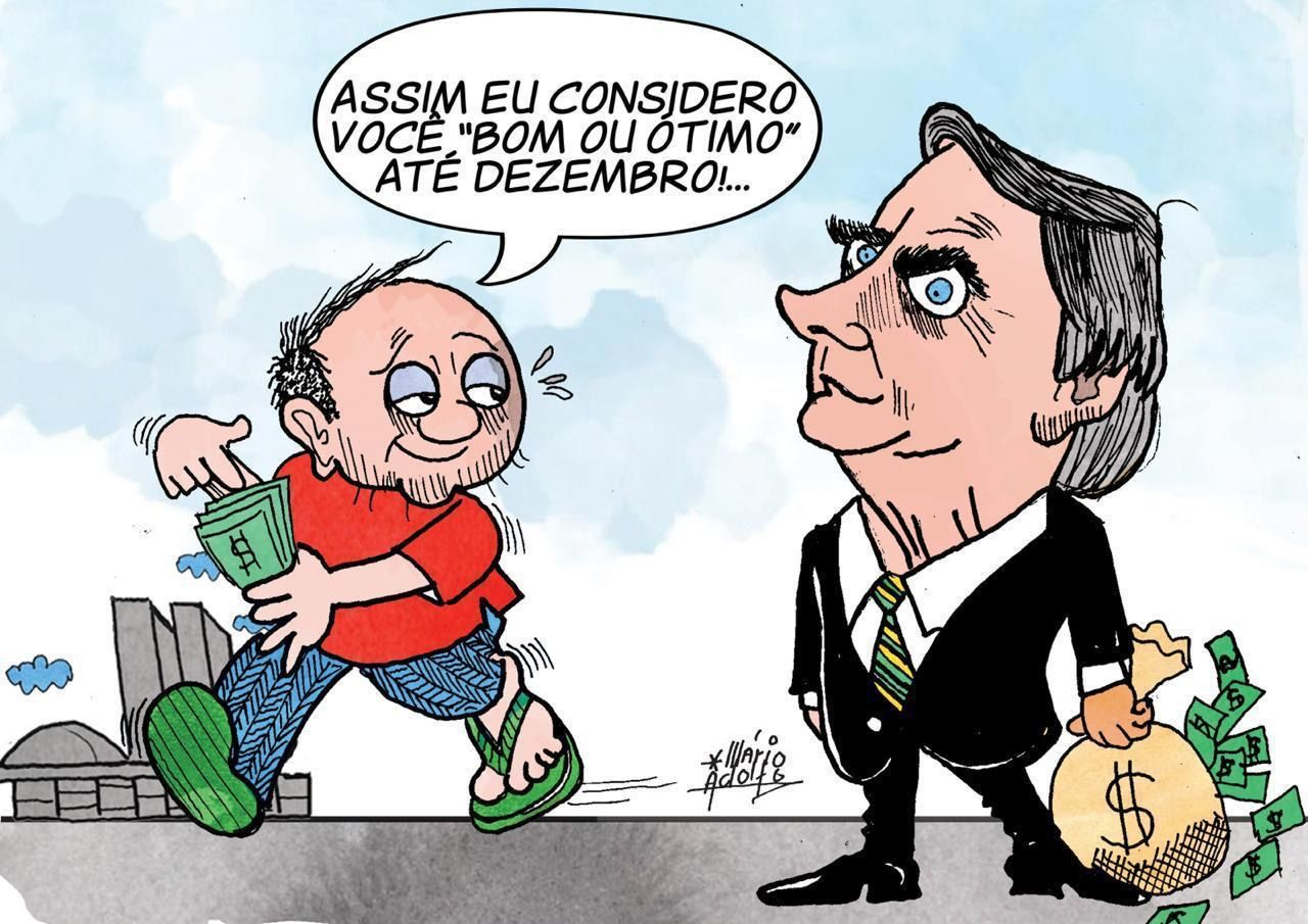 Charge Bolsonaro auxílio emergencial
