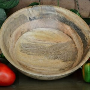 Beige Mango Wood 310 ML Flat Base Serving Bowl