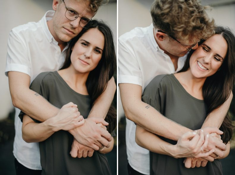 couple cuddled up and cozy for engagement photos