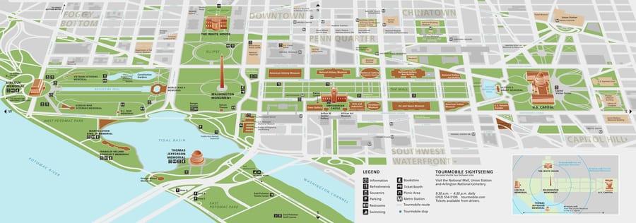 Mapa de Washington National Mall