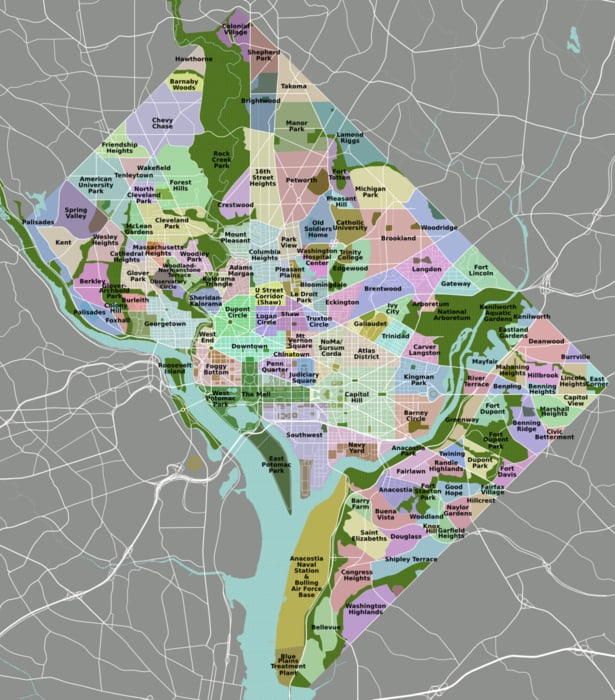 mapa de barrios de washington DC
