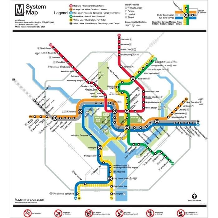 metro en washington transporte publico mapa