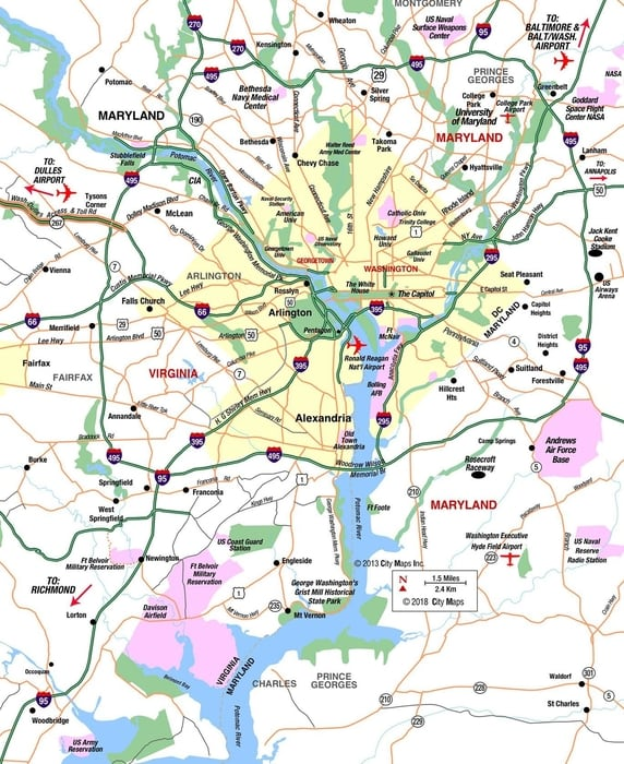 washington dc mapa de carreteras