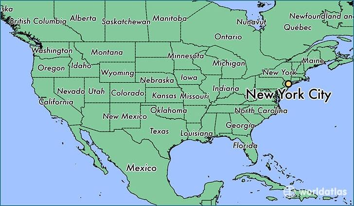 mapa de nueva york en Estados Unidos donde está