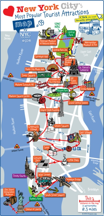 mapa atracciones turisticas Nueva York