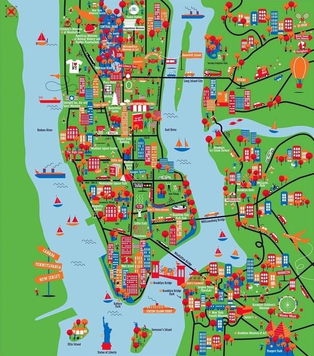 principales atracciones mapa new york