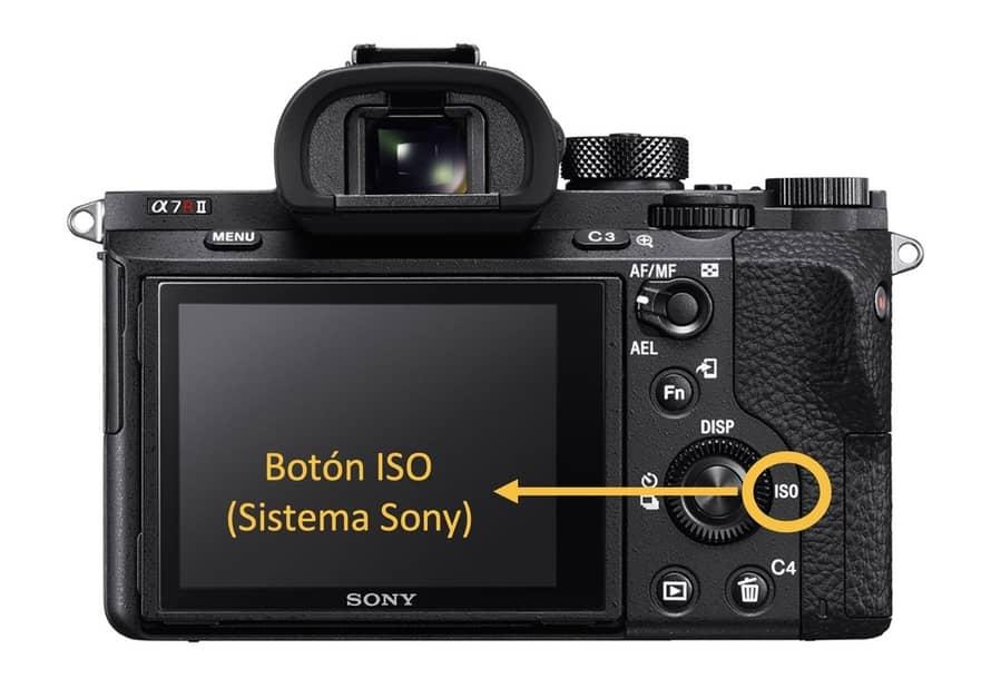 Botón ISO en cámara digital