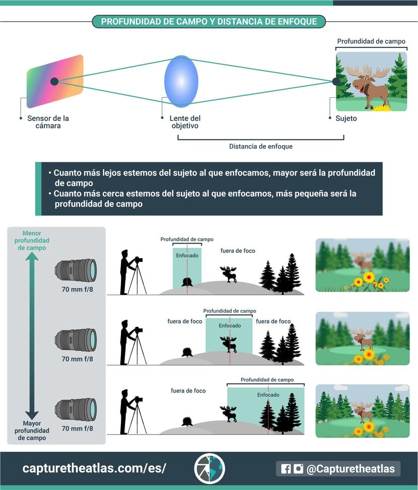 infografia que es la profundidad de campo y como se relaciona con la velocidad de enfoque