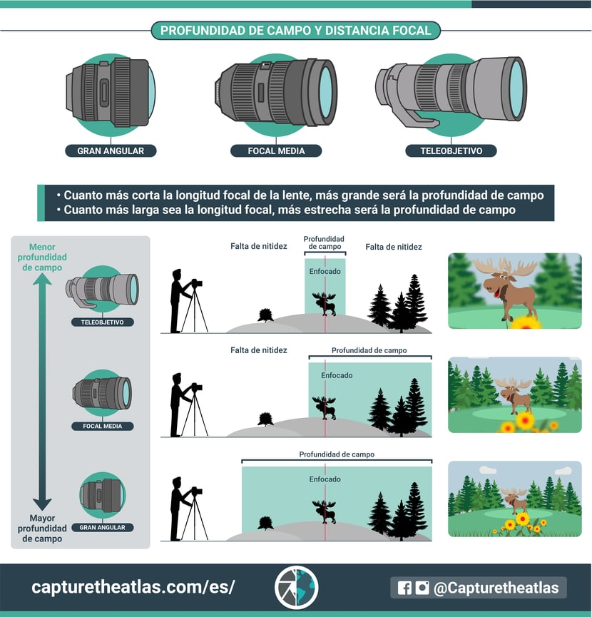 profundidad de campo y distancia focal como se relacionan infografia