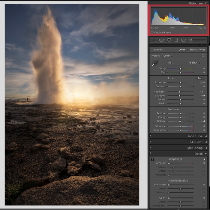 how to see the histogram in lightroom and how to use it