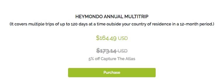 How much is the annual multi-trip Heymondo insurance?