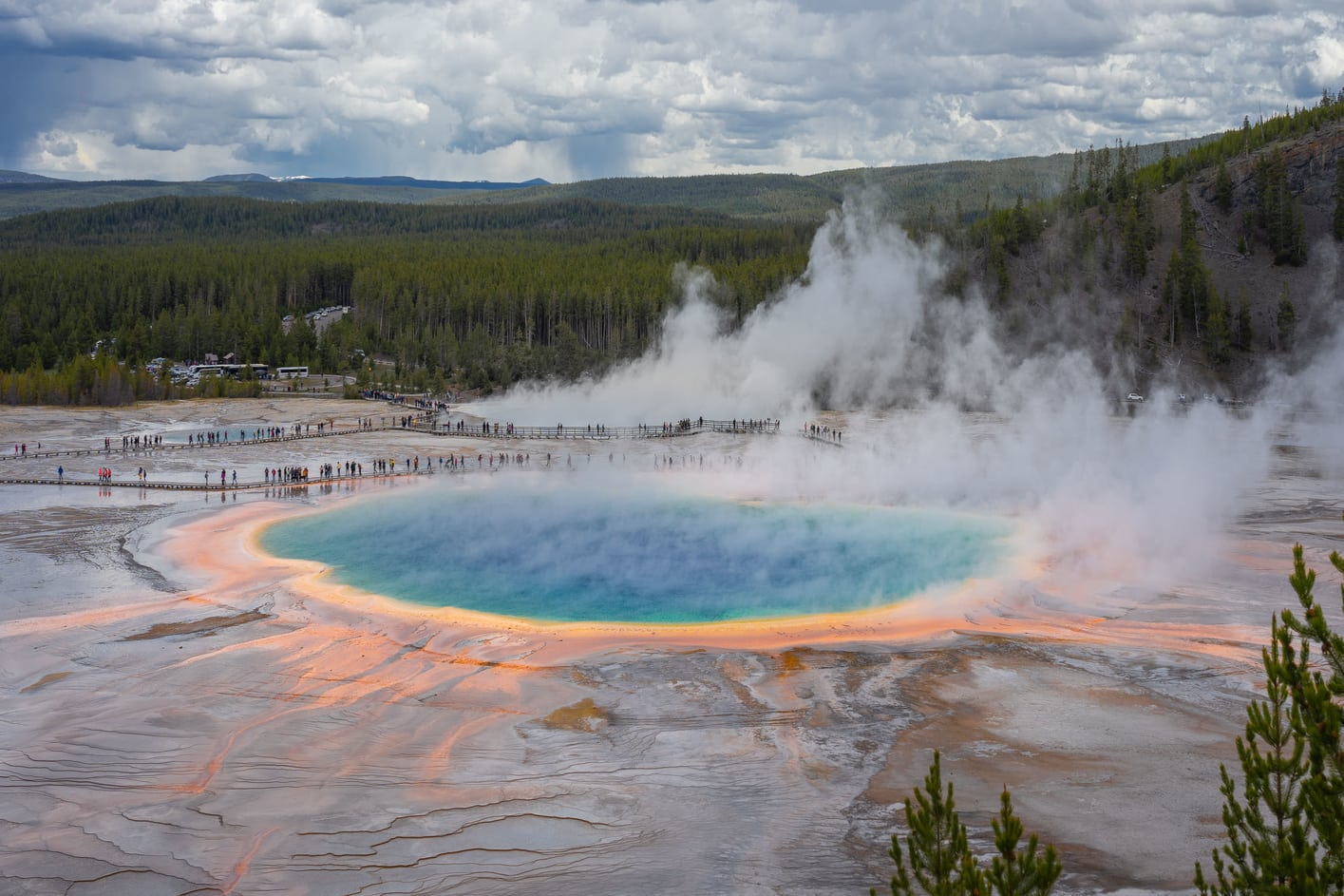 Visit the Grand Prismatic Spring, one of the best things to do in Yellowstone