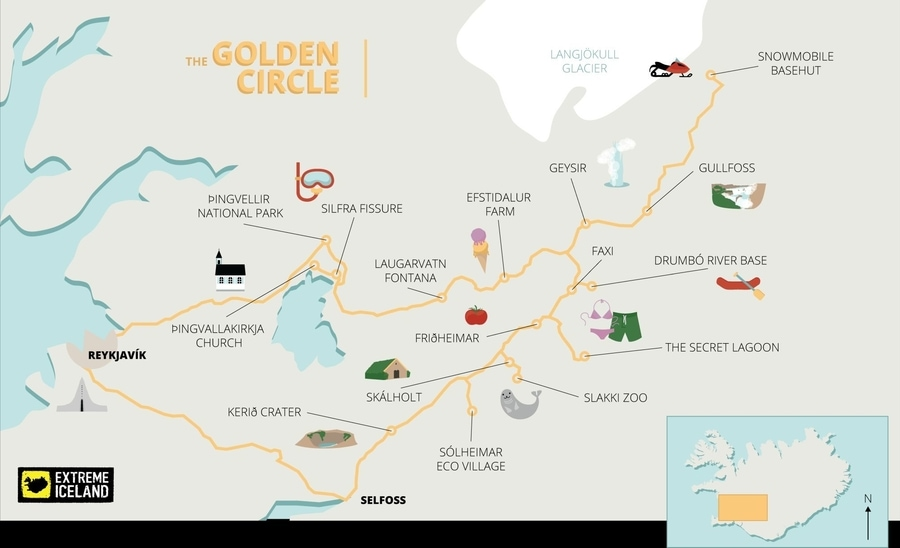 Iceland Golden Circle route map