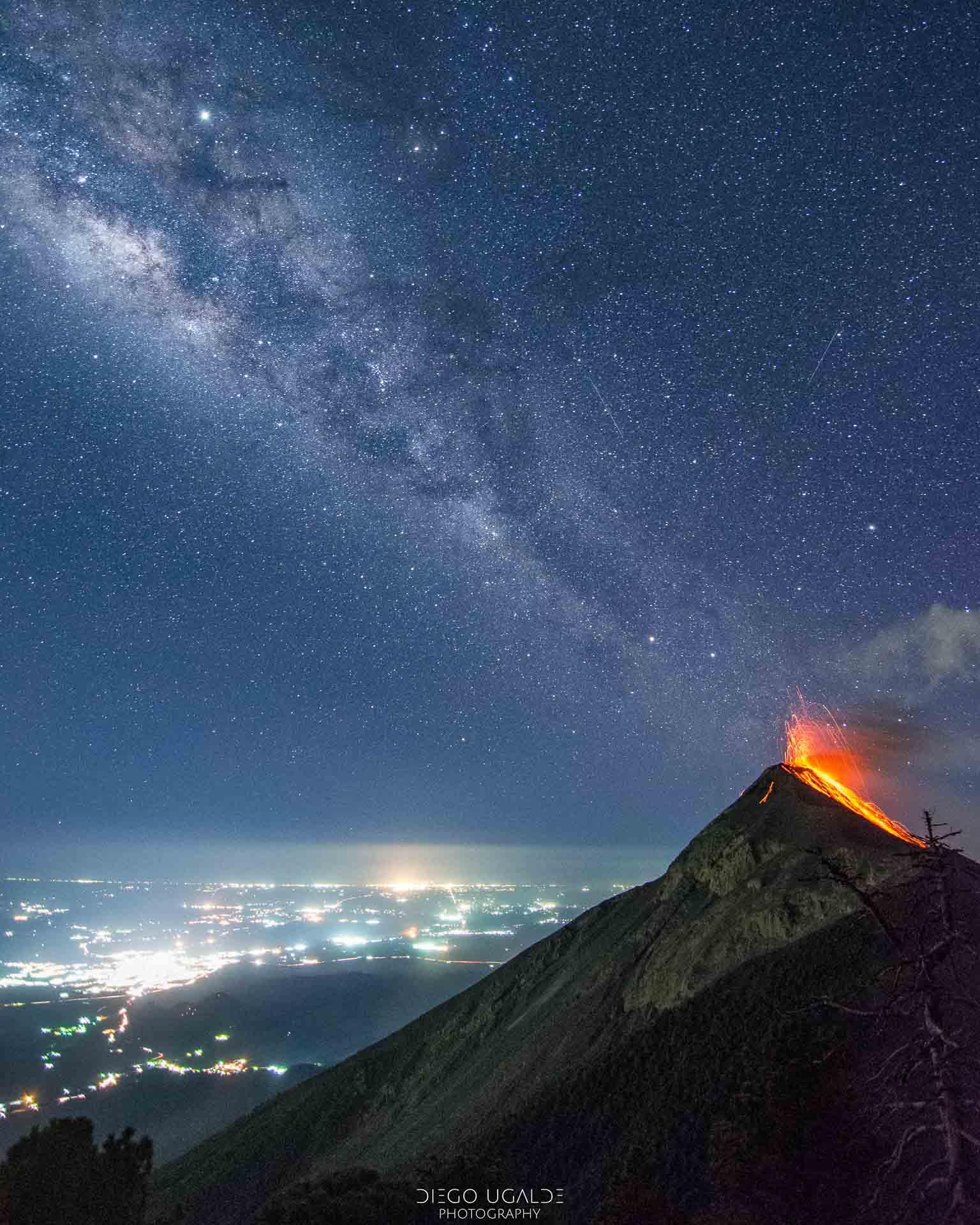 mejores imagenes de la via lactea Volcán de Fuego