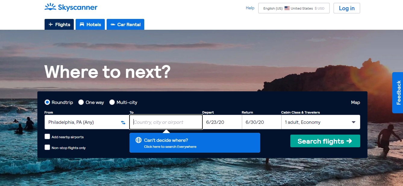 Find cheapest flight to anywhere