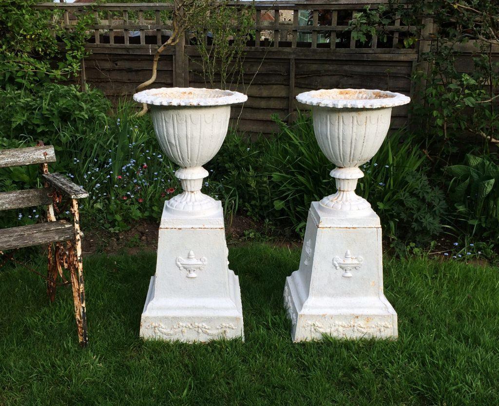 Antique Cast Iron Urns and Pedestals