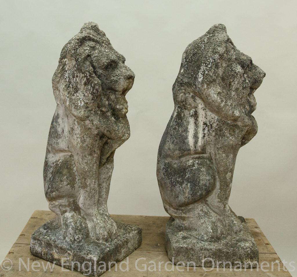Antique Cast Stone Lions, Pair