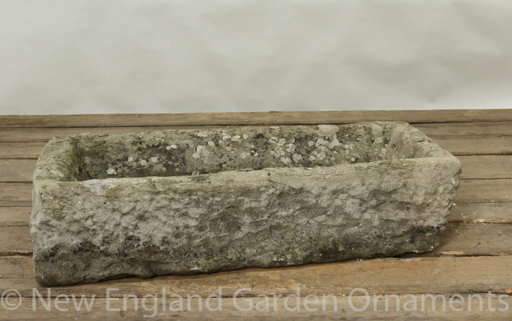 Antique Rustic Carved Stone Trough