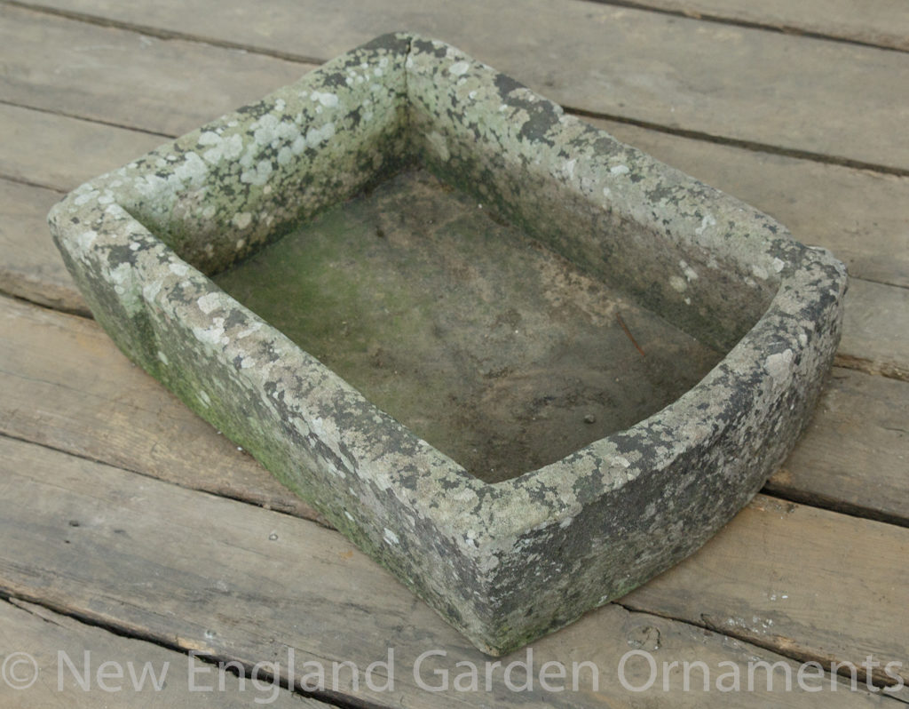 Antique Carved Low D Trough