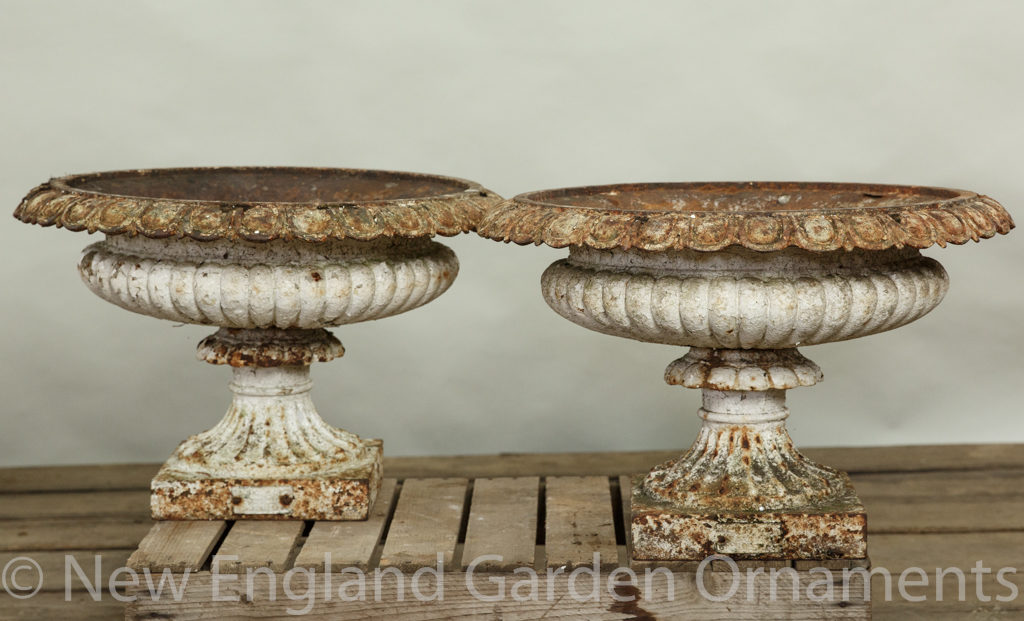 Antique Cast Iron Urns, Pair