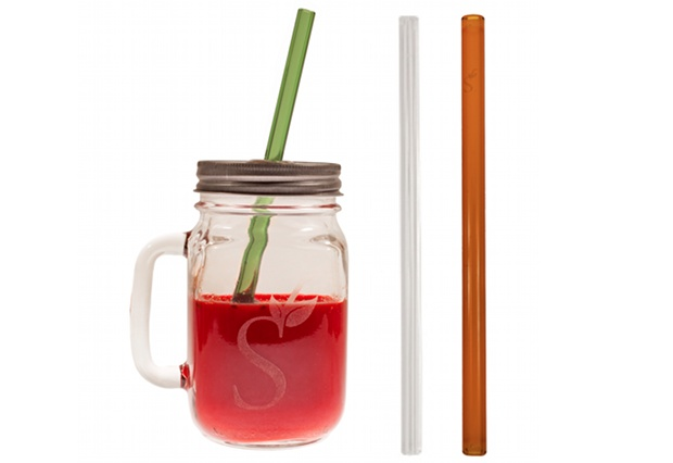 Reusable Glass Drinking Straws Mason Jar Gift Set