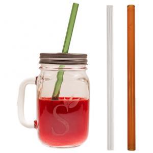 Reusable Glass Drinking Straws Mason Jar Gift Set
