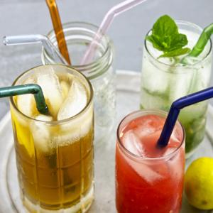 Reusable Glass Drinking Straws Set of 3 with Brush