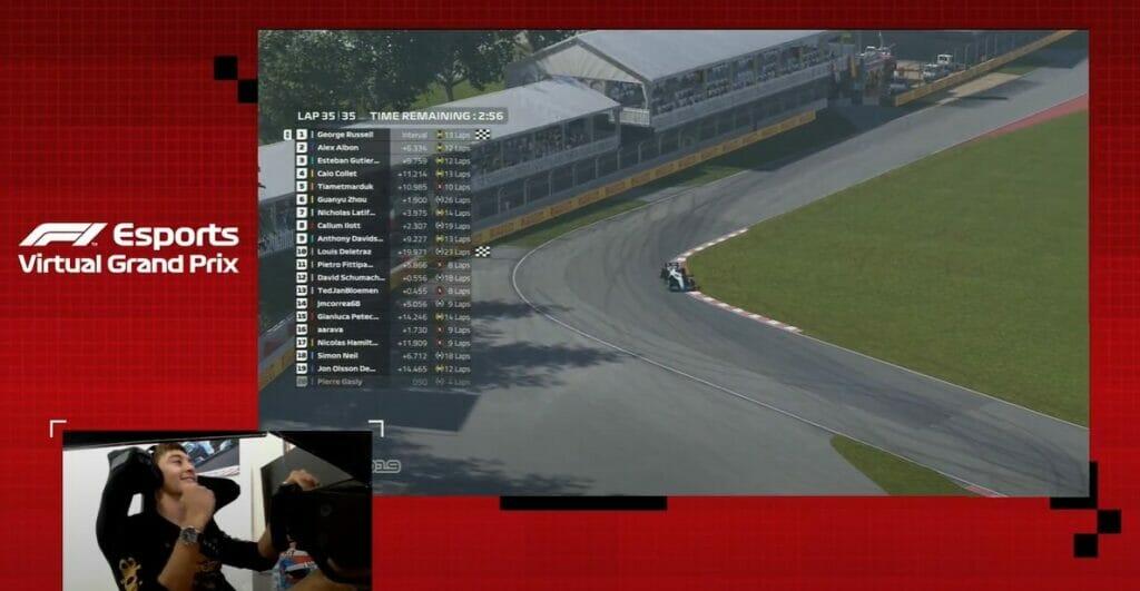 George Russell venceu o GP do Canadá e tornou-se campeão da F1 virtual (Foto: Reprodução)