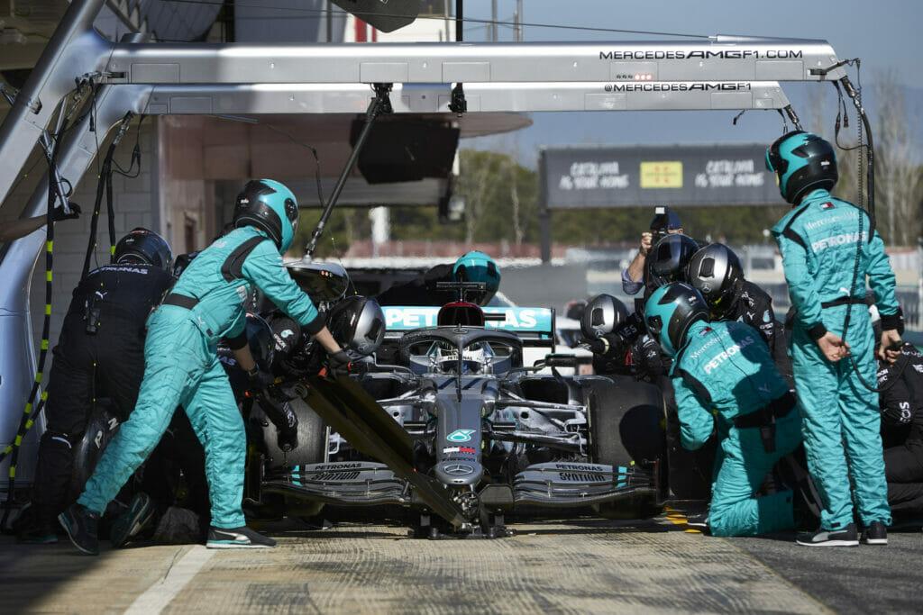 Mercedes em teste de pré-temporada em Barcelona (Foto: Steve Etherington/Mercedes)
