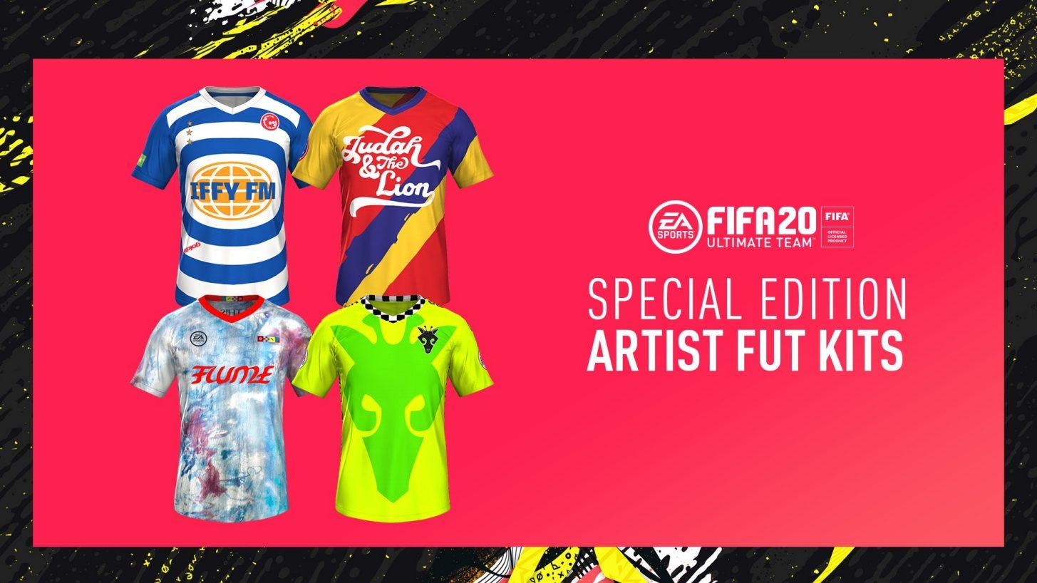 Camisas criadas por artistas para o modo Ultimate Team, do FIFA 20