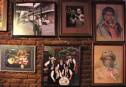 Images of musicians in a New Orleans establishment. Photo courtesy of Lindy Duchaine.