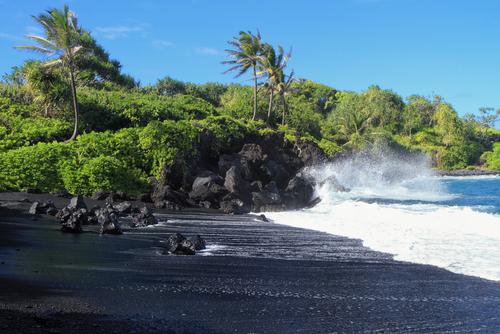 A black sand beach in Hawaii